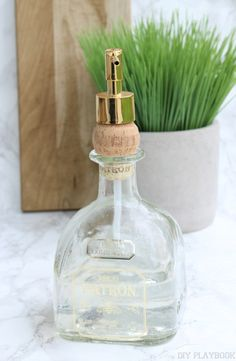 This liquor bottle soap dispenser is a great addition to a wet bar, man cave, or it's a great Father's Day gift. Plus it's a super simple DIY project.
