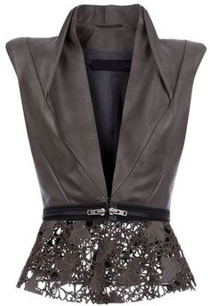 Leather and Lace Peplum Haider Ackermann Leather gilet Mode Chic, Mode Style, Style Me, Fashion Details, Love Fashion, Womens Fashion, Fashion Design, Fashion Trends, Leather And Lace
