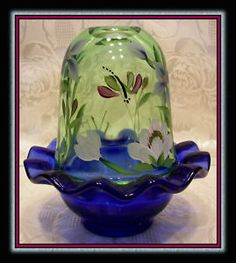 Fenton Glass Cobalt Blue/Green Apple HP. Fairy Lamp   Love fairy lamps