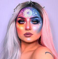 Galaxy Makeup Art hangin' out on a layover to orlando & i havent painted lately so im feelin' a bit Rave Makeup, Fx Makeup, Body Makeup, Face Makeup Art, Makeup Eyeshadow, Cheer Makeup, Makeup List, Makeup Geek, Special Makeup