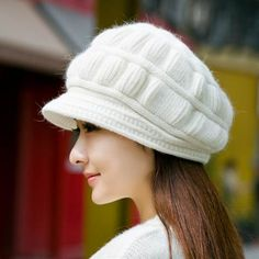 Winter knit beret hats for women warm comfortable