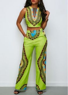 Dashiki Print Top and Pocket High Waist Pants African Fashion Designers, African Inspired Fashion, African Print Fashion, Africa Fashion, Fashion Prints, Ankara Fashion, African Prints, African Fabric, African Attire