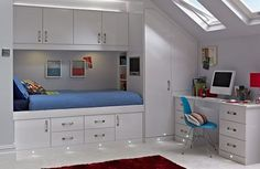 Here the Cassia White space saver range has been used to create a smart study bedroom, maximising the storage in a small attic room. Bedroom Furniture Design, Stylish Kids Bedroom, Space Savers Bedroom, Childrens Bedroom Storage, Storage Furniture Bedroom, Small Attic Room, Small Bedroom Storage, Sanctuary Bedroom, Bedroom Design