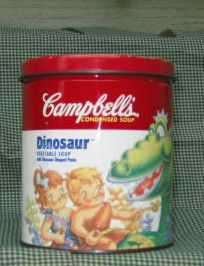 Campbell's Soup Bank Tin Dinosaur 1995 Campbell Kids Dinosaur Adorable