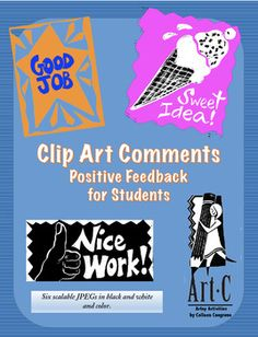 Free clip art teacher comments in scratchboard-style technique (rough lines, borders and glitches are inherent in the design).  Sweet idea!, Good job, and Good idea graphics can be used in classroom presentations, booklets, posters, etc.All artwork is sizable in JPEG and a colorful design is given as well as the traditional scratchboard black and white.Please open files to read my Rules of Use.Credit for free clip art must be given on your page somewhere to my store…