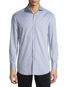 Pinpoint Cotton Sport Shirt, Light Blue