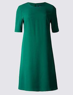 Woven Half Sleeve Swing Dress