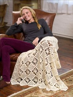 Lacy Web Throw: free pattern