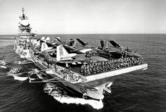 Three days after Argentine forces invaded the Falkland Islands, HMS Hermes headed to the South Atlantic, carrying 12 Sea Harrier jets and 18 Sea King helicopters Royal Navy Aircraft Carriers, Navy Carriers, British Aircraft Carrier, Uk Navy, Capital Ship, British Armed Forces, Falklands War, History Online, Flight Deck