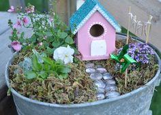 Fairy garden in a tub inspiration, I like the added bird house idea. Mini Fairy Garden, Dream Garden, Fairy Gardens, Fairies Garden, Fairy Doors, Garden Crafts, Garden Ideas, Cute Birds, Fairy Houses