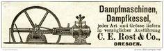 Original-Werbung/ Anzeige 1903 - DAMPFMASCHINEN / DAMPFKESSEL ROST / DRESDEN - ca. 100 x 30 mm