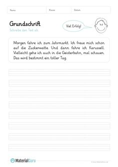Grundschrift - MaterialGuru German Language Learning, Simple Sentences, Worksheets, Study, Teaching, Writing, Education, School, German Language