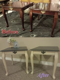 Queen Anne Side Tables; Before and After. Annie Sloan Chalk Paint; Graphite and Old Ochre. ‪#‎morethanpaint‬ ‪#‎ASCP