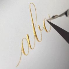 Every morning I have a streak of sunshine that comes across my workspace and lasts about ten minutes. Why is everything better in gold? Caligraphy, Gold Calligraphy, Wedding Letters, Shops, My Workspace, Ten Minutes, Sunshine, Gold Necklace, Lettering