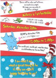 Dr. Suess birthday invite