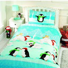 Christmas cuddles duvet cover, polar bears & penguins christmas bedding for toddlers & kids. Cot bed, single & double festive bedding
