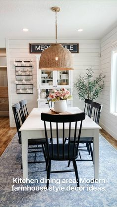 Dining Room Design, Dining Area, Dining Room Furniture, Farm House Dinning Room, Dinning Room Shelves, Dining Room Rugs, Light Wood Dining Table, White Dining Room Table, Black And White Dining Room