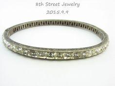 Estate Art Deco Sterling Silver 925 Princess Paste/Rhinestone Bangle Bracelet #Unbranded #Bangle
