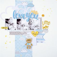 June Guest Designer: Kim Watson Hello everyone! My name is Kim Watson and I'm honored to be guest designing here at Bella Blvd! I live in the beautiful city of Cape Town, South Africa with my family. We are blessed to be sourrounded by oceans,. Paper Bag Scrapbook, Baby Scrapbook Pages, Baby Boy Scrapbook, Scrapbook Page Layouts, Scrapbook Cards, Scrapbooking 101, Crate Paper, Cute Baby Boy, Album Photo