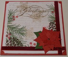 6x6 card designed & made by Karen Margotta. This Rustic Pinecone card is made entirely with StampinUp stamps: DD Pinecone, Botanicals (words), winter Post & Peaceful Wishes greetings stamp. The berries were made using a fine tip marker & a pencil eraser dipped in Real Red ink. Poinsettia is made from Spellbinder's dies. Red Velvet ribbon completes the card.