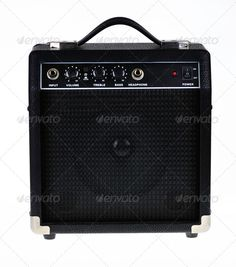 Guitar amp or amplifier (amplify, audio, background, bass, black, button, communication, control, device, electric, electrical, electronics, equipment, guitar, input, instrument, isolate, isolated, isolation, jack, knobs, loud, music, musical, nobody, object, one, performer, power, rock, sound, speaker, supply, switch, treble, volume, white)
