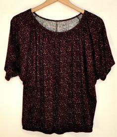Ann Taylor Loft Purple Knit Blouse Elastic Waistband & Neckline Sz XS Petite EUC
