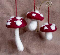 Burgundy Mushroom Ornaments