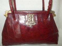 Rare dark red vintage 1940's crocodile handbag with lady front by VintageHandbagDreams on Etsy