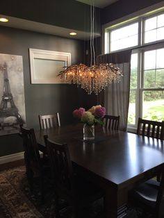 Autumn Twilight: delicate, branch style, gold crystal chandelier in dining room Light Project, Twilight, Chandelier, Ceiling Lights, Lighting, Kitchen, Projects, Home Decor, Log Projects