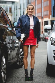 40+ Street Style Looks That Slayed London Fashion Week #refinery29  http://www.refinery29.com/2016/09/123831/lfw-spring-2017-best-street-style-outfits#slide-22  Socks and sandals are still a no-fail combination.Topshop skirt, Ganni jacket, Prada shoes....