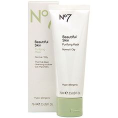 Boots No7 Beautiful Skin Purifying Mask - Normal / Oily 2.5 oz by Boots. $16.99. This gentle thermal mask is ideal for blemish prone skin. It contains Zeolite Clay, which heats up on contact with water to open pores and draw out impurities. Further enriched with pumice particles (man made) to sweep away dirt and everyday impurities. Rosehip oil leaves skin feeling soft and moisturized, even after the deep cleaning experience of the mask. As you rinse, it tightens pores t...