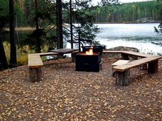 Fire place Garden Fire Pit, Fire Pit Patio, Lake Landscaping, Lake Cottage, Outdoor Furniture Sets, Outdoor Decor, Lake Life, Rustic Farmhouse, The Great Outdoors