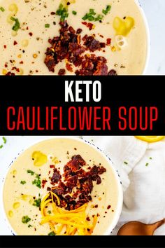 If you like potato soup, you are going to go wild for this Loaded Cauliflower Cheese Soup. Creamy and cheesy, this makes one of the most comforting soups that I have had. You can serve this as a meal on its own or as a side to a meaty main. I like to top this more shredded cheese, chives, and bacon for a soup that never fails to delight. Cauliflower Cheese Soups, Loaded Cauliflower, Easy Dinner Recipes, Breakfast Recipes, Easy Meals, Best Comfort Food, Potato Soup, Perfect Food, Keto Dinner
