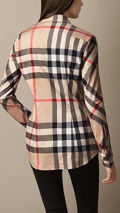 Camisa xadrez de algodão stretch | Burberry