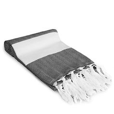 Premium Turkish Peshtemal 100% Cotton; Fouta Towel that is Absorbent, Quick Drying, Ultra Soft, and is a Multi use Blanket (Black)