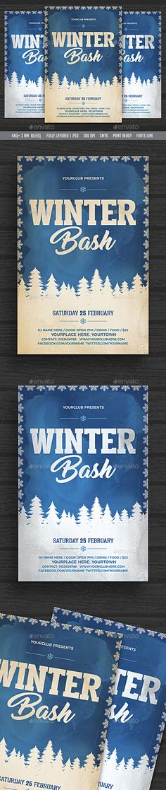 Vintage Winter Bash Flyer Design Template - Clubs & Parties Events Flyer Design Template PSD. Download here: https://graphicriver.net/item/vintage-winter-bash-flyer/19107163?ref=yinkira