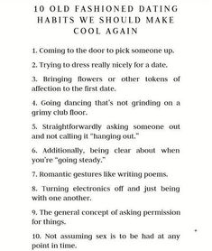 Old fashioned dating rules to follow