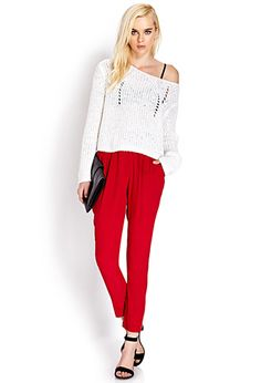 Crepe Woven High-Waisted Trousers {love these in red}