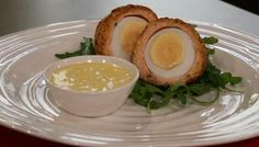 Scottish salmon Scotch eggs with caper mayonnaise ...oh my this sounds good!  Maybe I will finally try scotch eggs!