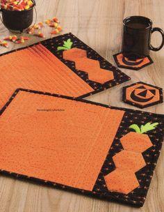 Pumpkin Hexies Place Mat & Coaster Set Quilt Pattern Pieced/Applique CM
