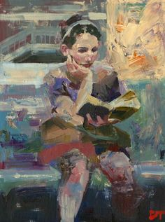 ARTFINDER: Captivated in Transit by Darren Thompson - Captivated in Transit is part of a series of depicting the female figure reading. I use subdued colors and loose brush strokes, as in most of my paintings, i...