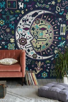 Magical Thinking Mystic Folk Tapestry- great idea for a mural. My New Room, My Room, Girl Room, Boho Lifestyle, Deco Cool, Hipster Decor, Magical Thinking, Boho Home, Tapestry Wall Hanging