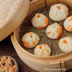 Vegan baozi (Chinese steamed buns). The filling used is stir-fried tofu with the similar taste of mapo tofu.