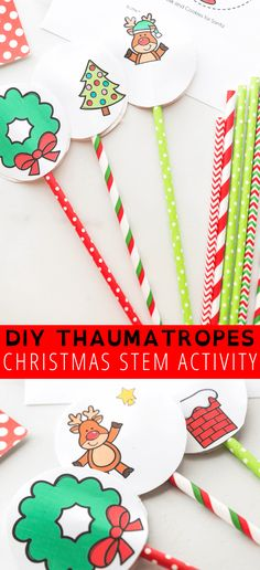 How To Make A Thaumatrope - hands on learning activities for the Christmas season. Christmas Activities For Kids, Science Activities For Kids, Easy Christmas Crafts, Holiday Activities, Stem Activities, Childcare Activities, Christmas Printables, Valentine's Day Crafts For Kids, Toddler Crafts