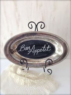 hmmm - on the large tray I have that needs resilvering. Could do this and keep on cupboard top, then use w/ a doily when needed. Vintage Silver Tray with Chalkboard Paint - Chalk Sentiment - Vintage Decor - French Country - Cottage - Shabby Chic Silver Platters, Silver Trays, Shabby Chic Decor, Vintage Decor, Vintage Items, French Country Cottage, French Country Decorating, Chalkboard Paint, Vintage Chalkboard
