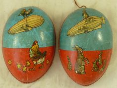 ️Vintage Papermache Easter Egg With Rabbits and Chicks on a Zeppelin