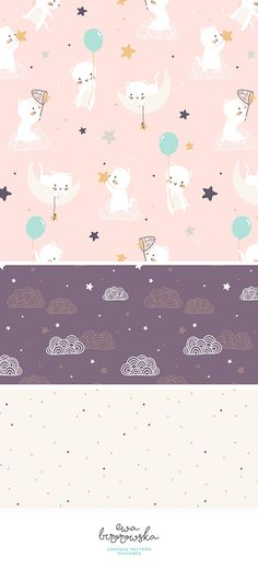 Catch a falling star - minimal scandinavian surface pattern design mini-collection for girls. Flying cats with balloons and surrounding patterns with clouds on a plum background and dots.