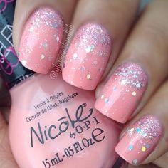 Pink and glitter mani