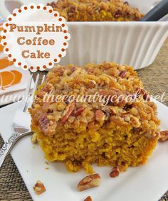 The Country Cook: Pumpkin Pie Cake  8x8 Snack Size  Fall Delights