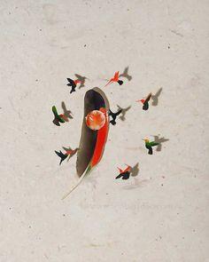 'Hummingbirds 1',Chris Maynard feather art.